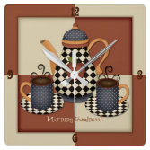 Morning Goodness Coffee Square Wall Clock
